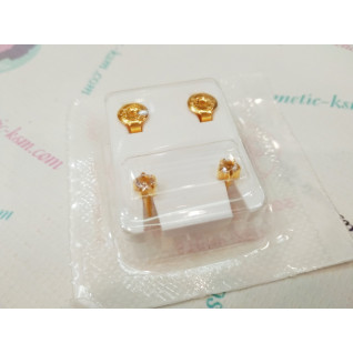 Сережки M, крапан золотий, камінь прозорий, Studex