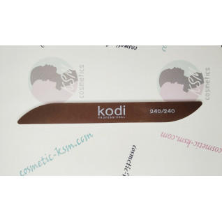 """Kodi Пилка  абразивность 240/240 для ногтей в форме """"Бумеранг"""" цвет:коричневый"""