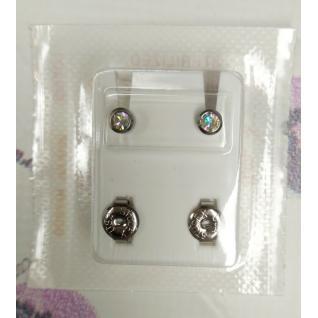 Серьги M, завальцов серебро, камень хамелеон, Studex